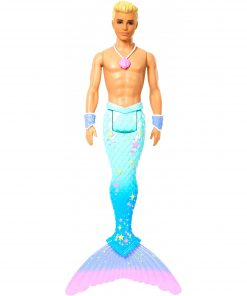 Barbie Dreamtopia Merman Doll, Blonde with Pink Seashell Necklace