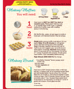 (3 Pack) Betty Crocker Lemon Poppy Seed Muffin and Quick Bread Mix, 14.5 oz