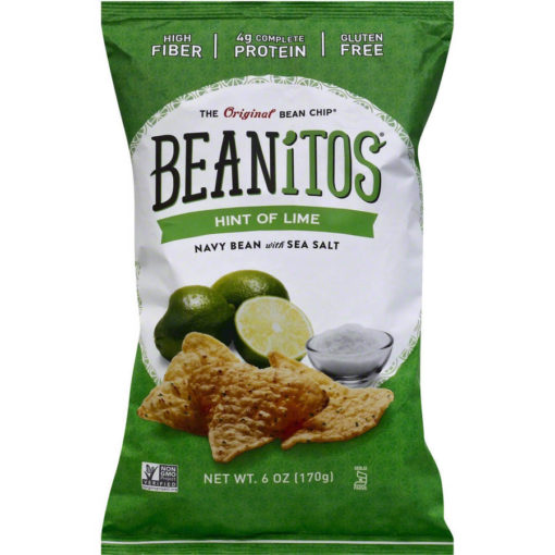 Beanitos Hint of Lime Navy Bean with Sea Salt Bean Chips, 6 oz, (Pack of 6)