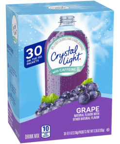 Crystal Light Grape Drink Mix with Caffeine, 30 On the Go Packets