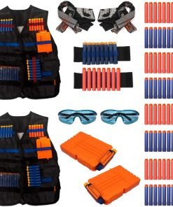 Kids Tactical Vest for Nerf Gun–n- Strike Elite Series + Accessories Kit, Pack of 2 -for Two Players Red & Blue team..