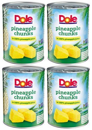 (4 Pack) Dole Pineapple Chunks in 100% Pineapple Juice, 20 oz
