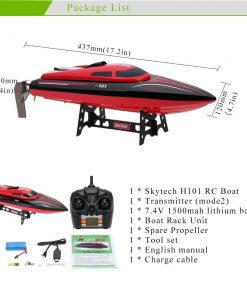 FMT H101 2.4G Remote Controlled 17 Inch Over size 25KM/H 180 Degree Flip High Speed Electric RC Racing Boat for Pools, Lakes and Outdoor Adventure