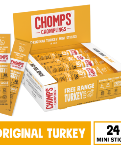 CHOMPS Free Range Mini Original Turkey Jerky Sticks, Paleo & Keto Friendly, Whole30 Approved, Non-GMO Gluten & Sugar Free 29 Calorie Snacks, 0.5 Ounce Stick, Pack of 24