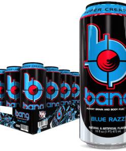 Bang Blue Razz Energy Drink with Super Creatine, 16oz 12pk