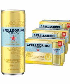 S.Pellegrino Essenza Lemon & Lemon Zest Flavored Mineral Water, 11.15 fl oz. Cans (24 Count)