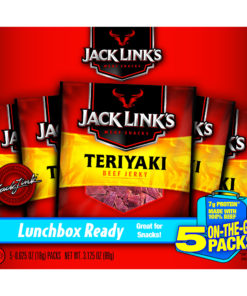 Jack Link's Beef Jerky Lunch Packs, Teriyaki, 0.625oz, 5 CT