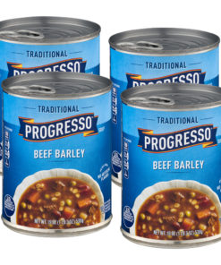 (4 Cans) Progresso Soup, Traditional, Beef Barley Soup, 19 oz
