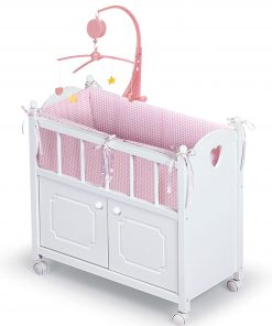 Badger Basket Cabinet Doll Crib with Gingham Bedding and Free Personalization Kit – White/Pink – Fits American Girl, My Life As & Most 18″ Dolls