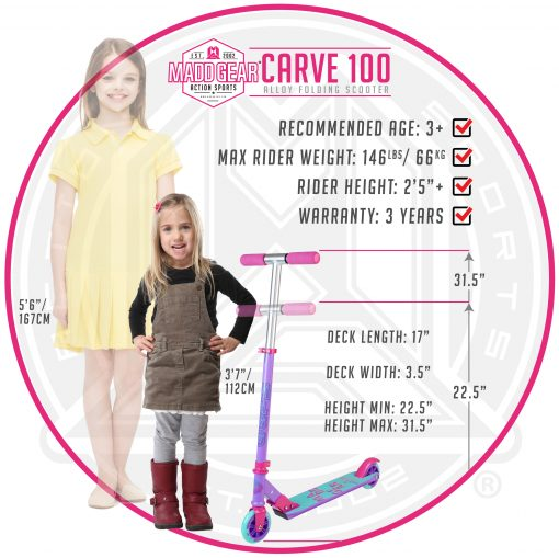 MADD GEAR CARVE 100 Purple Pink Teal – Folding Aluminum Kick Scooter – Suits Girls Ages 3+ – Max Rider Weight 146lbs – 3 Year Manufacturer Warranty – Built to Last! Madd Gear Est. 2002