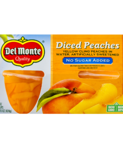 (8 Cups) Del Monte No Sugar Added Diced Peaches, 3.75 oz cups