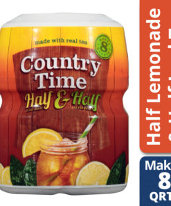 (2 Pack) Country Time Powdered Drink Mix, Half Lemonade & Half Iced Tea, Caffeinated, 19 oz Jar