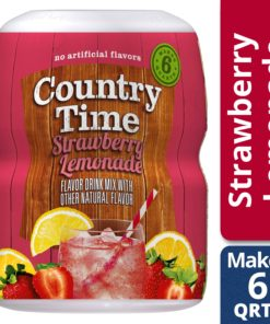 (2 Pack) Country Time Strawberry Lemonade Drink Mix, Caffeine Free, 18 oz Jar