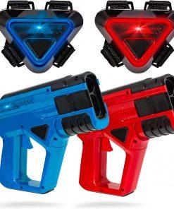 SHARPER IMAGE Two-Player Toy Laser Tag Blaster & Vest Armor Set for Kids, Safe for Children and Adults, Indoor & Outdoor Battle Games, Combine Multiple Sets for Multiplayer Free-for-All!