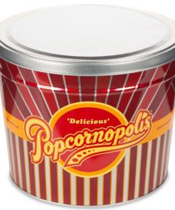 Popcornopolis Gourmet Popcorn 1.26 Gallon Tin with Caramel Corn, Cheddar Cheese, and Zebra