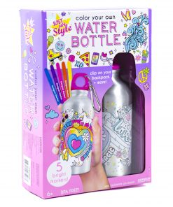 Just My Style Color Your Own Water Bottle, Pre-Designed, 6+