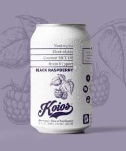 KOIOS – Nootropic Black Raspberry Functional Beverage, Enhances Brain Function, Productivity, Reduce Stress, w/ Lion's Mane Mushroom, MCT Oil, & Natural Caffeine, Gluten-Free, 12 Fl Oz Cans (12-Pack)