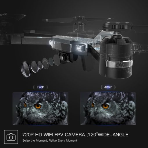SNAPTAIN A15H FPV RC Drone with 720P HD Camera and Live Video 120° Wide-Angle WiFi Quadcopter Foldable Drone with Trajectory Flight Altitude Hold Headless Mode 3D Flip and One Key Return for Beginners
