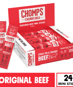 CHOMPS Grass Fed Mini Original Beef Jerky Sticks, Paleo & Keto Friendly, Whole30 Approved, Non-GMO Gluten & Sugar Free 43 Calorie Snacks, 0.5 Ounce Stick, Pack of 24