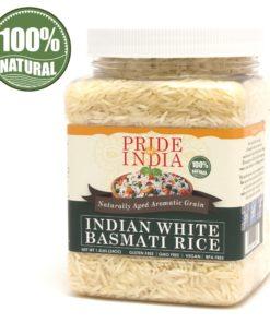Pride Of India – Premium Indian White Basmati Rice – 3.3 lbs (1.5 kg) Jar – Unique & Nutty Flavored Extra Long, Non-Sticky & Slender Grain – Used to make Biryanis, Pilaf, Pudding etc.,
