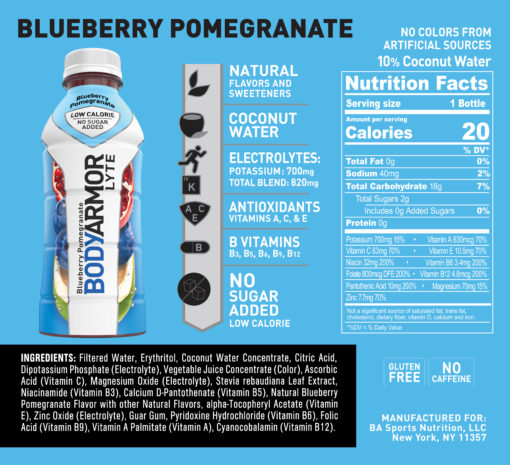 BODYARMOR LYTE Sports Drink, Blueberry Pomegranate, 16 Fl. Oz., 12 count