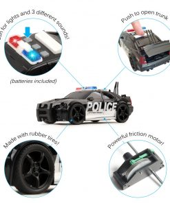 Vokodo Police Car Friction Powered 1:20 Scale With Lights Sirens And Sounds Durable Kids Rescue Emergency City Cop Vehicle Push And Go Pursuit SWAT Toy Pretend Play Great Gift For Children Boys Girls