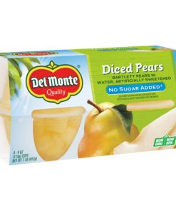 (4 Pack) Del Monte No Sugar Added Diced Pears in Water, 4 oz Cup, 4 Count Box