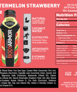 BODYARMOR Sports Drink, Watermelon Strawberry, 16 Fl. Oz., 12 count