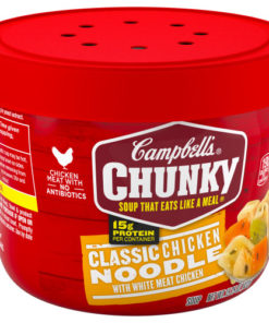 (4 pack) Campbell's Chunky Microwavable Soup, Classic Chicken Noodle Soup, 15.25 Ounce Bowl