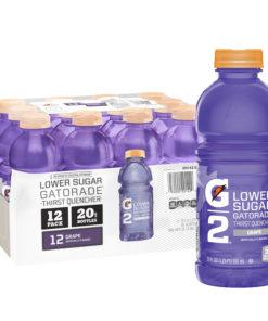 Gatorade G2 Thirst Quencher Lower Sugar Sports Drink, Grape, 20 oz Bottles, 12 Count
