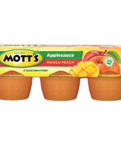 (2 Pack) Mott's Mango Peach Applesauce, 4 oz Cups, 6 Count