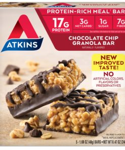 Atkins Protein-Rich Meal Bar, Chocolate Chip Granola, Keto Friendly, 5 Count