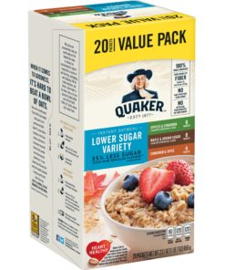 Quaker Instant Oatmeal, Lower Sugar Variety Pack, Value Pack, 20 Packets (8 Apples & Cinnamon, 8 Maple & Brown Sugar, 4 Cinnamon Spice)