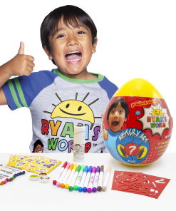 Ryan's World Mystery Art Egg (Includes 12 Markers, 12 Crayons, 3 Character Erasers, 5 Sticker Sheets, 3 Stencils and 1 Special Coloring Roll, Walmart Exclusive, Ages 4+