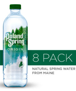 Poland Spring Origin, 100% Natural Spring Water, 900mL recycled plastic bottle, 8-Pack