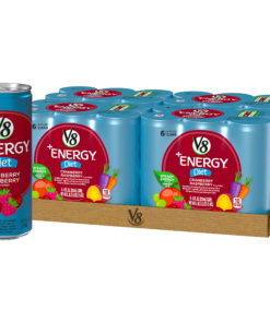(24 Cans) V8 +Energy With Green Tea, Diet Cranberry Raspberry, 8 Fl Oz