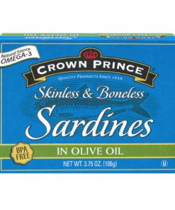 (3 Pack) Crown Prince Skinless Boneless Sardines in Olive Oil, 3.75 oz