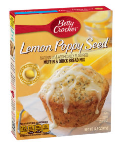 (4 Pack) Betty Crocker Lemon Poppy Seed Muffin and Quick Bread Mix, 14.5 oz