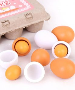 6PCS Realistic Egg Toys Pretend Kitchen Toys Wooden Food Toy Educational Learning Toy Easter Egg with Storage Box Creative Birthday Gift Toys for Kids Child Baby Girls Boys