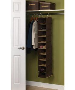 Household Essentials Coffee Linen Collection 10-Pocket Wide Organizer
