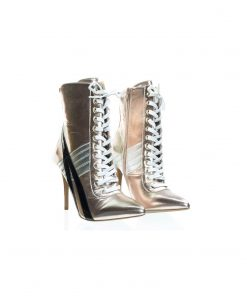 Akira142 by Wild Diva, Lace Up High Heel Sneaker Above Ankle Bootie, Color Block & Pointed Toe