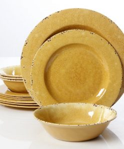Gibson Studio California Mauna Crackle Set of 12 Melamine Dinnerware Set in Yellow