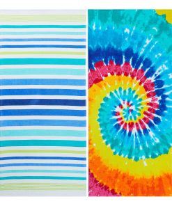 (2 pack) Mainstays Quick-Dry Cotton Multi-Color Beach Towels, Stripe/Tie Dye