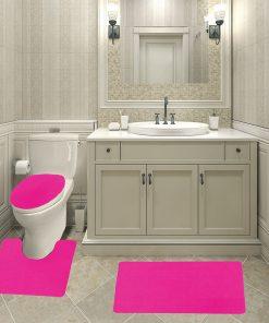All For You Polypropylene Bath Mat Set, Contour Rug Lid Cover Non Slip Latex Bottom- 18″x30″ Bath mat, 18″x18″ Contour rug, Uniersal cover-3 PC Set (hot pink)-4 colors available