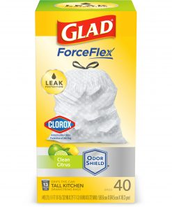 Glad Tall Kitchen Trash Bags, 13 Gallon, 40 Bags (ForceFlex, Clean Citrus)