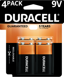 Duracell Coppertop Alkaline Long Lasting 9V Batteries 4 Pack
