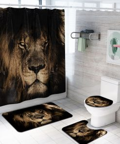 4 Pcs Lion Bathroom Bath Mat Set Rugs Toilet Lid Cover Shower Curtain Waterproof