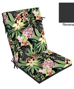 Better Homes & Gardens Black Tropical 44 x 21 In. Dining Chair Cushion w Enviroguard