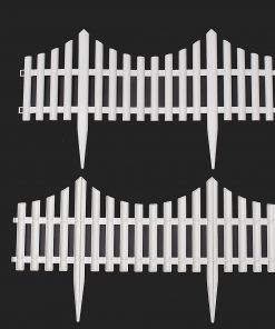 12 24Pcs White Flexible Plastic Garden Picket Fence Lawn Grass Edge Edging Border 24 / 48 FT
