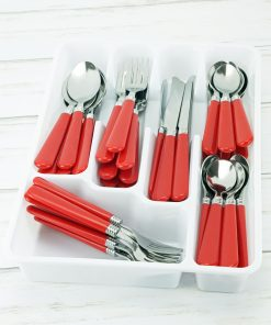 Mainstays Red Flatware Set, 48 Piece Stainless Steel & Plastic